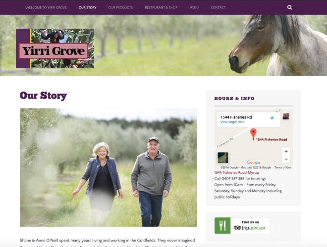 Yirri Grove website Our Story