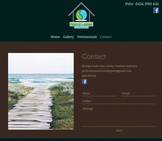 Contact page for Perfect Home Solutions
